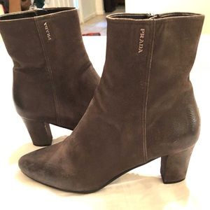 PRADA ANKLE BOOTS BOOTIES LEATHER BROWN
